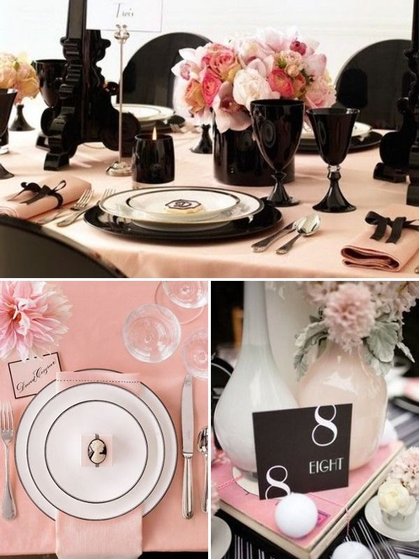peach and black bridal shower table settings | Everything you need ...