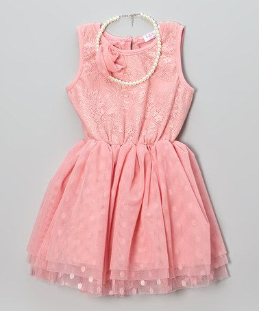 Another great find on #zulily! Coral Polka Dot Lace Dress & Necklace - Toddler & Girls #zulilyfinds