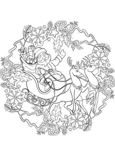 Christmas Mandala With Santa Sleigh And Deers Coloring Page