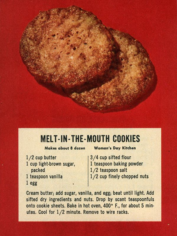 Melt-in-the-Mouth Cookies recipe from Womanu0027s Day December 1953 - deko f r k chenw nde