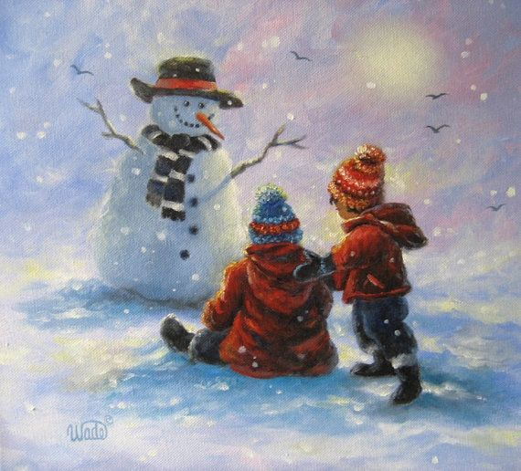 Snow buddies original oil painting vickie wade art for Oil painting for kids