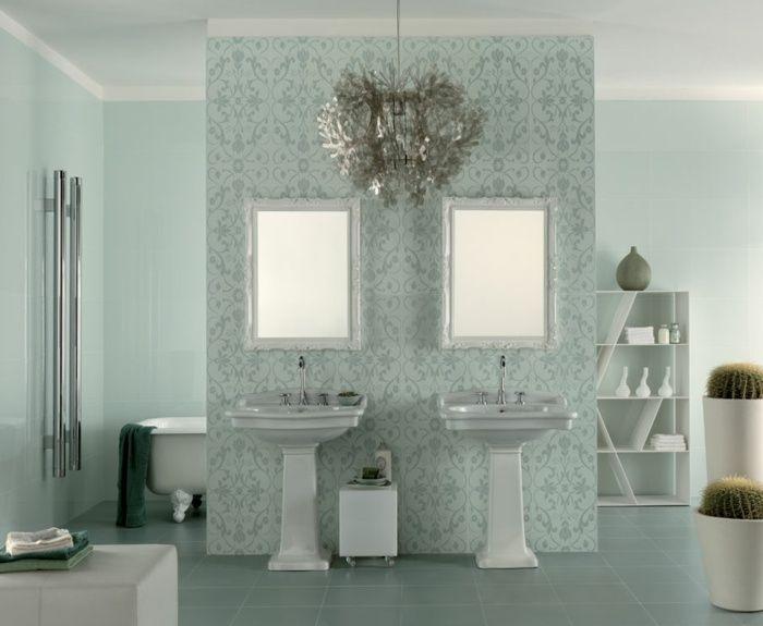 Hervorragend Badezimmer Fliesen Ideen In Hellem Grün Mit Blumen Muster