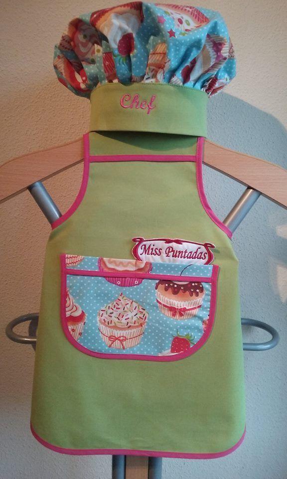 367dc01c0cb Delantal y Gorro de Chef Junior Verde y Rosa: 17,95 € - Miss Puntadas