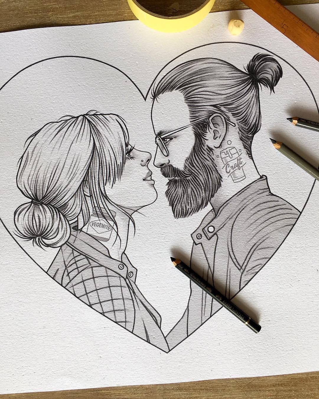 Currently sketching a cute couples portrait wedding gift for legends zoe and levi riklee illustration portrait art drawing couple wedding kiss