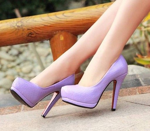 86c0a07a993 Light Purple Patent Faux Leather Embossed Heels   Fashion High Heels  Shoes