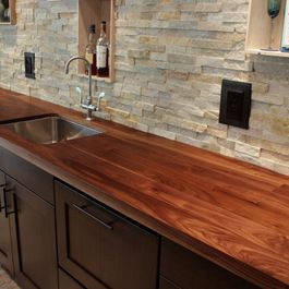 Stacked Stone Backsplash I Would This Be Hard To Clean Wooden