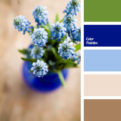 Intense deep blue color brings a note of optimism and joy into a tranquil spring range of green, blue and light beige shades. This palette is perfect for the interior of a bedroom, a living room and a nursery, while clothing in this combination of colors can be worn by both young and respectable men and women.