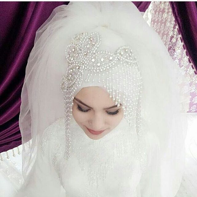 Photo of The most stylish hijab with headband and bridal dress models with hijab …