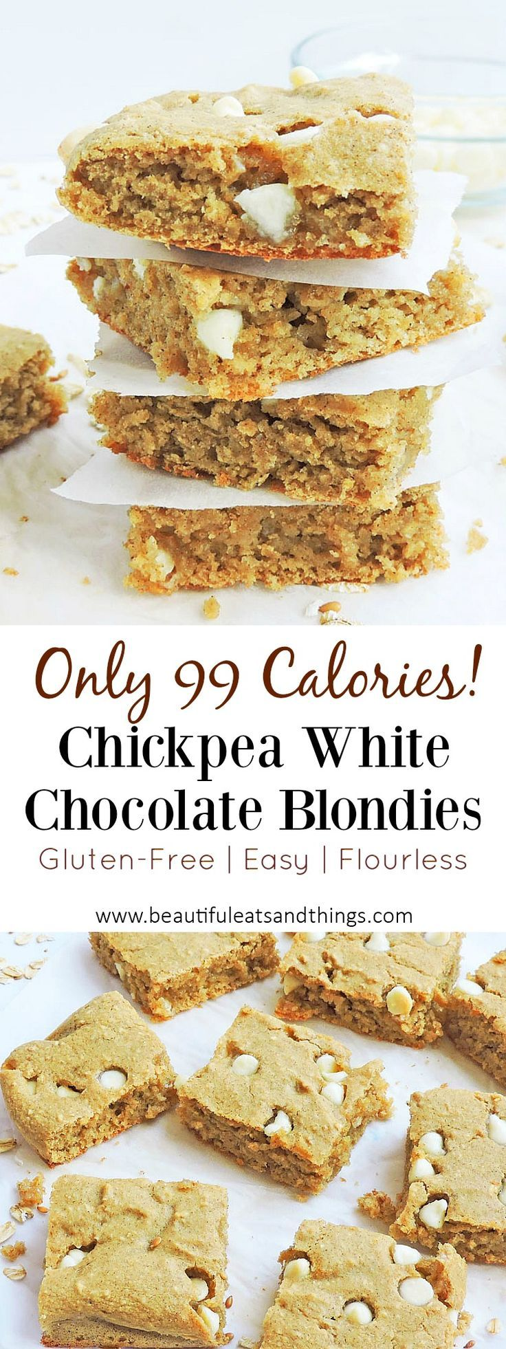 Flourless Chickpea White Chocolate Blondies - -