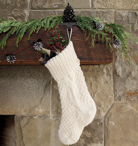 Holiday Mantel Inspiration I Chunky Knit Stocking With Holiday Greens Christmas Stockings Knitted Christmas