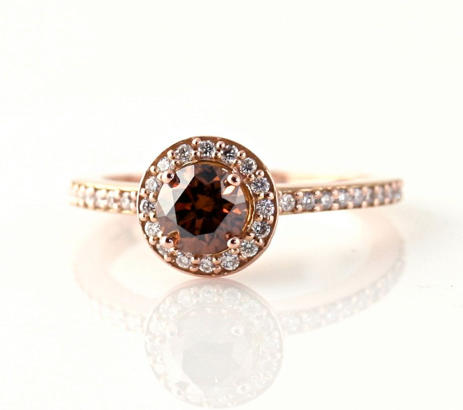 14K Chocolate Diamond Wedding Set Engagement Ring Fancy Champagne Diamond Halo Brown Diamond Ring Custom Bridal Jewelry. $2,923.00, via Etsy.