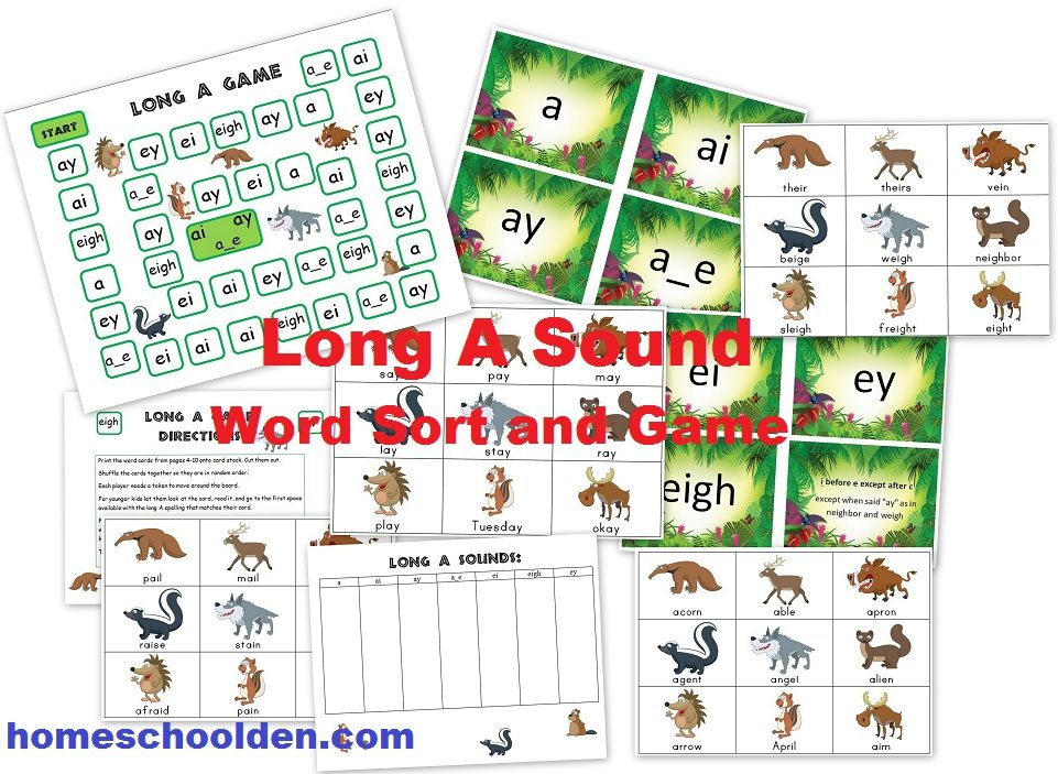 Long A Sounds spelled a, ai, ay, a-e, ei, eigh, ey – Sorting Cards and Board Game!