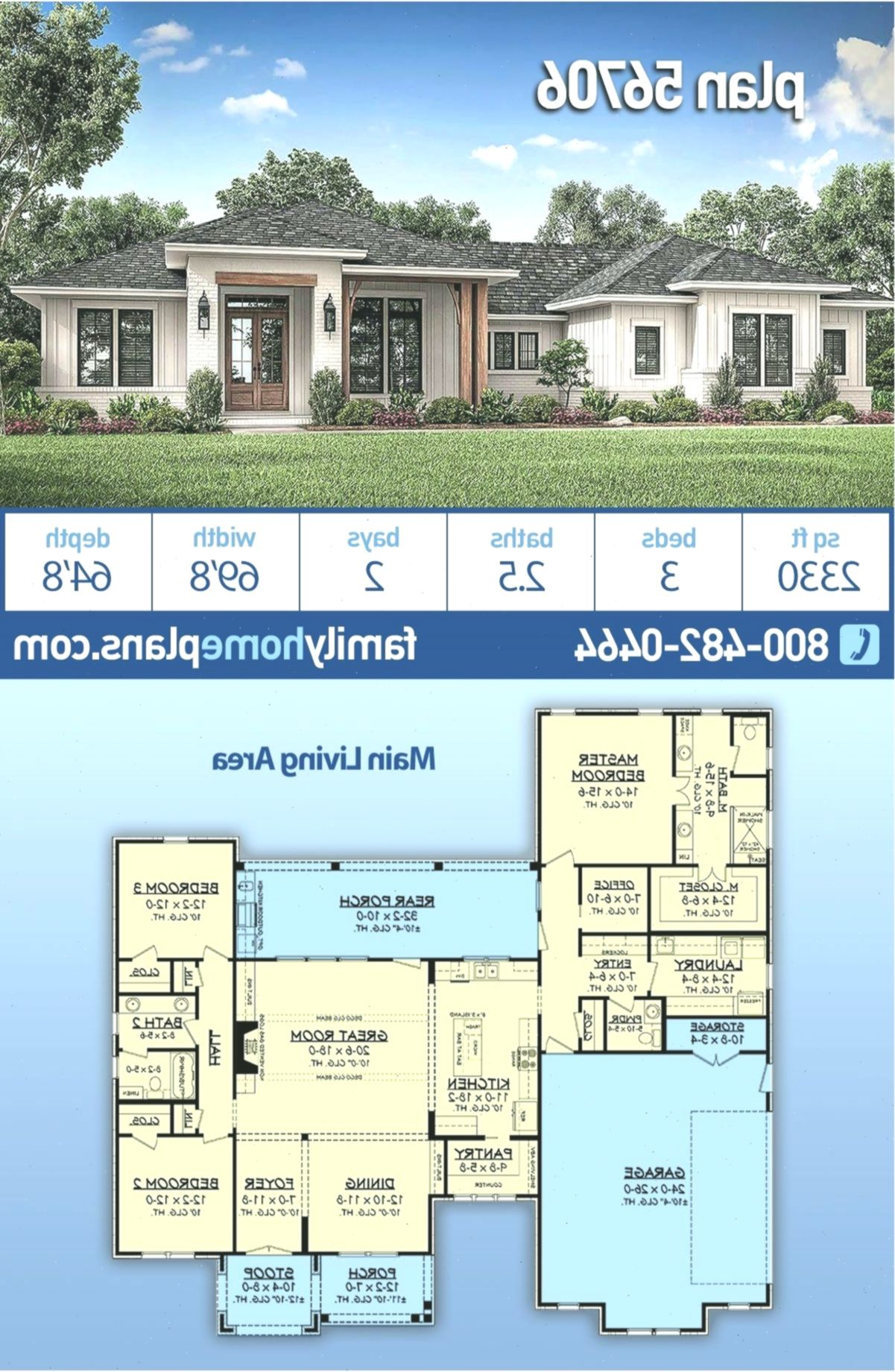 Modern Texas Ranch House Plan #56706 has 2330 sq ft, 3 ...
