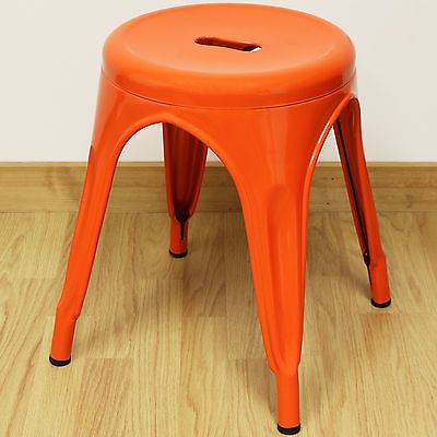 Set-of-2-Two-44cm-Low-Orange-Round-Metal-Stools-Industrial-Kitchen-Cafe-Seat