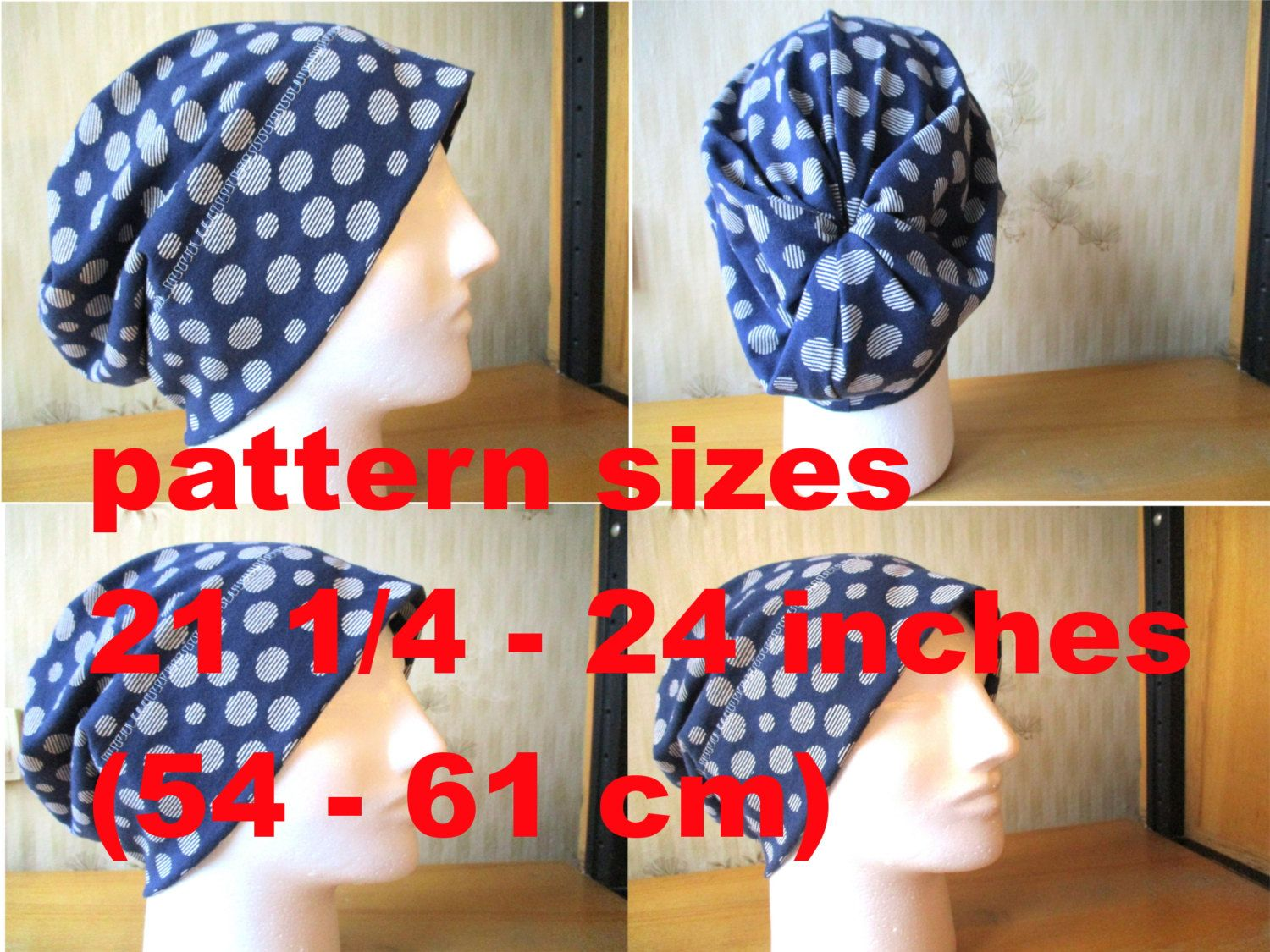 580441b0fab slouchy beanie hat pdf sewing pattern with seam allowances