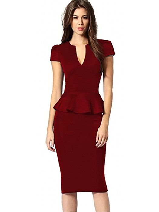 3612ad9b79a0 Women's Deep V Neck Short Sleeve Peplum Slim Business Pencil Midi Dress(Red,  2XL) at Amazon Women's Clothing store: