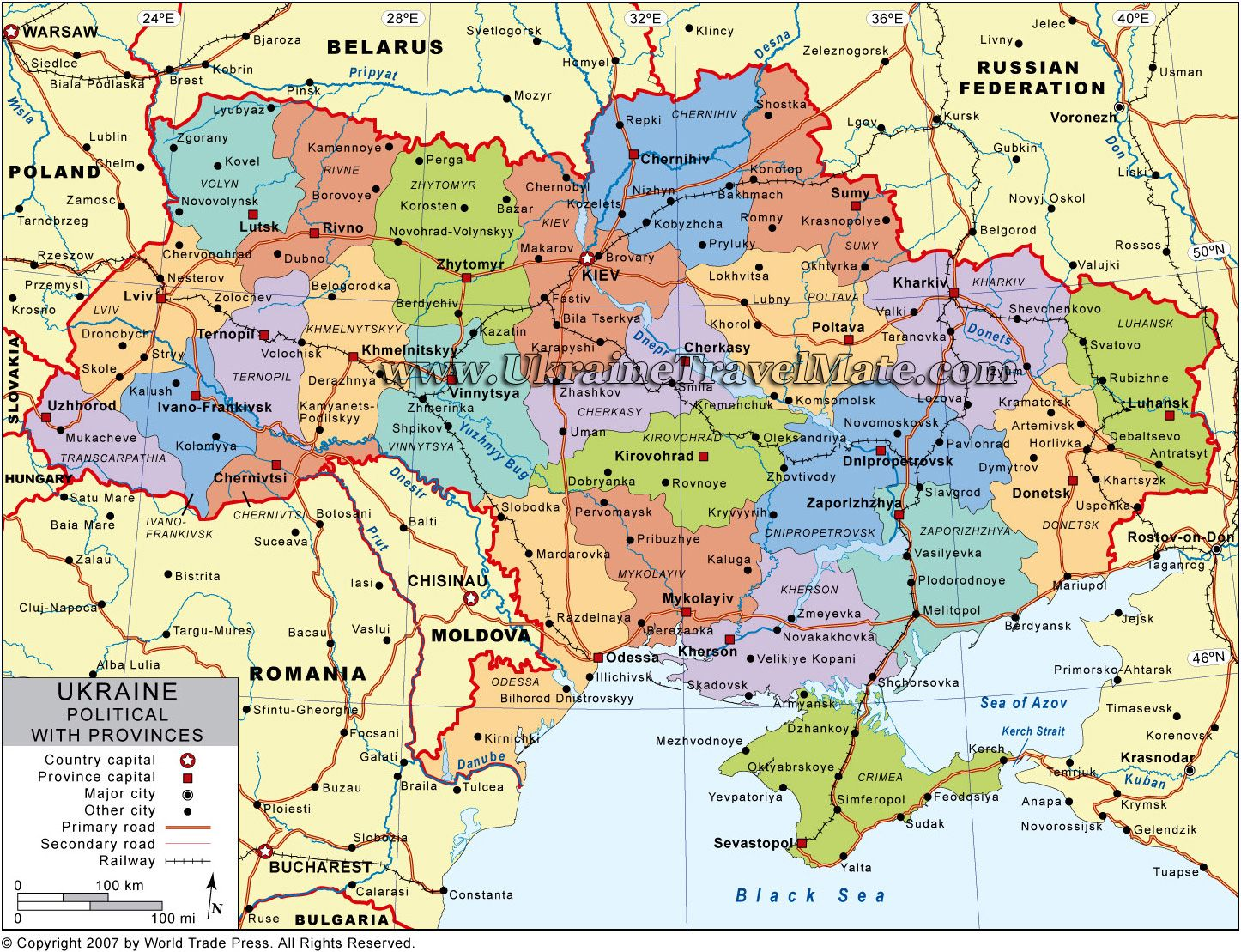 Map of Ukraine and Ukrainian cities and towns on the map of Europe