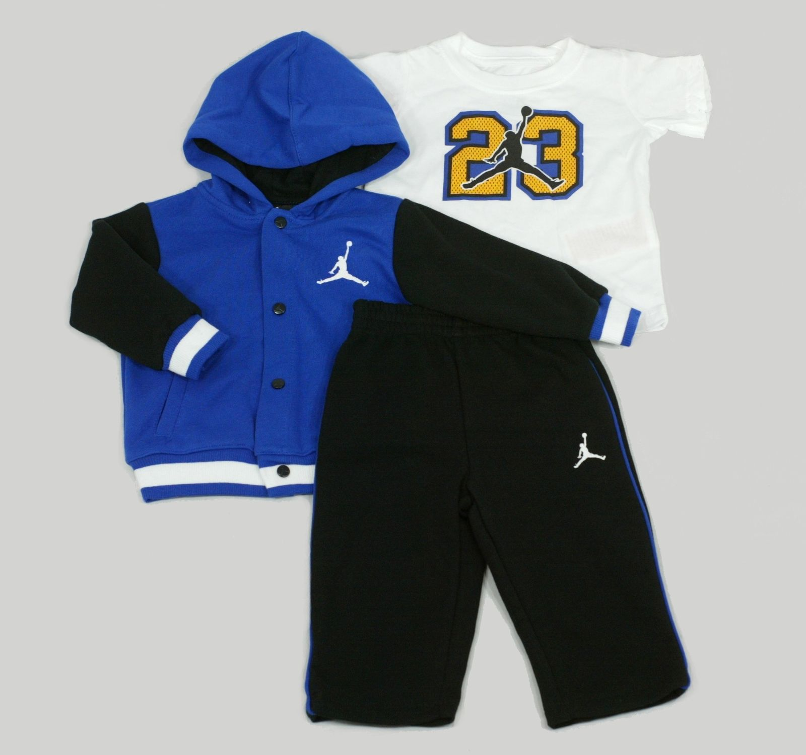 Baby u0026 Toddler Boys Nike Air Jordan 23 Varsity Hoodie T-Shirt Pants Outfit Set In Blue | Kid ...