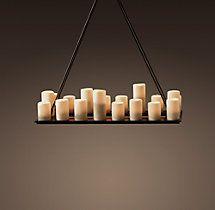 Pillar Candle Rectangular Chandelier Small | Chandeliers | Restoration Hardware - Dining Room Chandelier