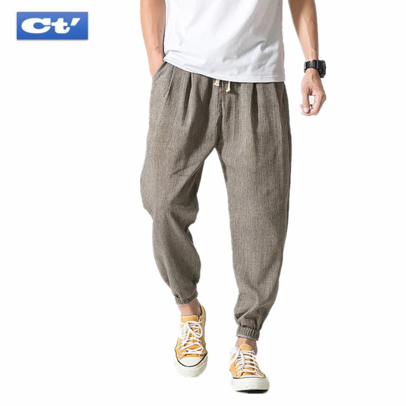 8beb4063e9 Baggy Pants Men 2018 Summer Big Size Japanese Style Mens Long Trousers Thin  Breathable Loose Cotton