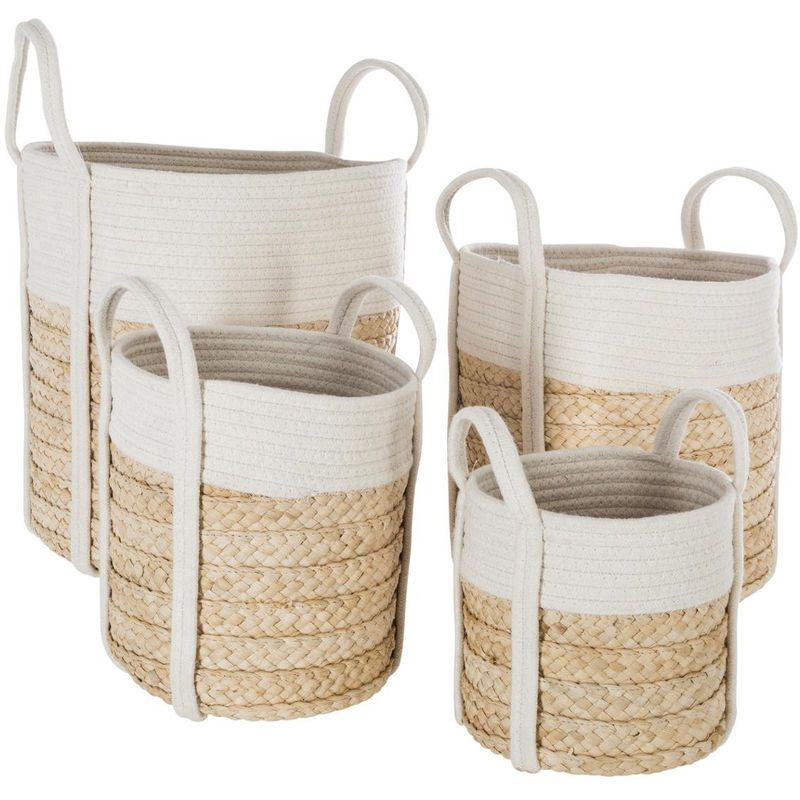 Panier Coton Naturel X 4 157136 Wicker Wicker Baskets Home Decor