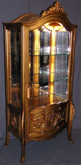 Louis Xv Gilded Curio Cabinet Circa 1890
