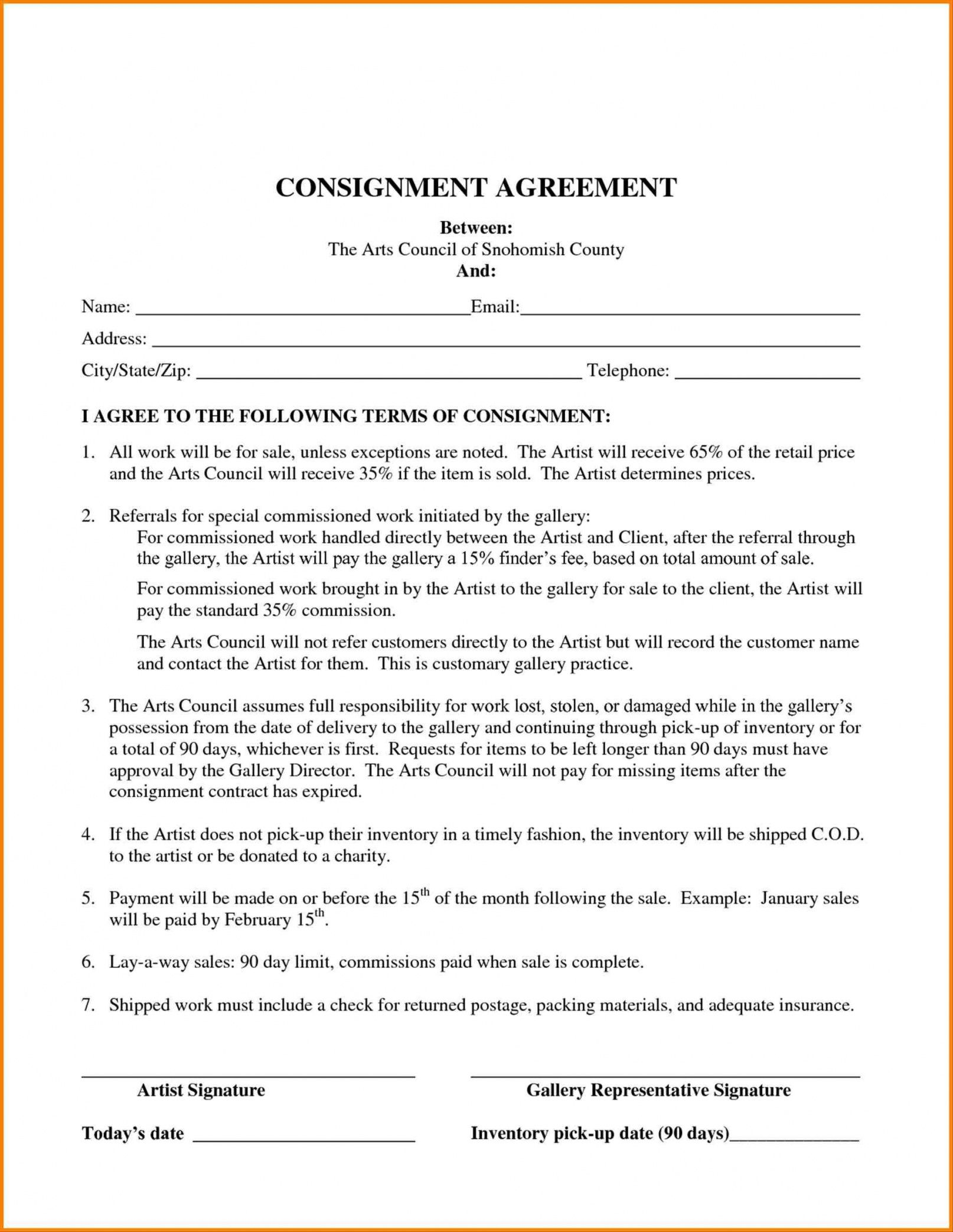 Get Our Image Of Auto Consignment Agreement Template Agreement