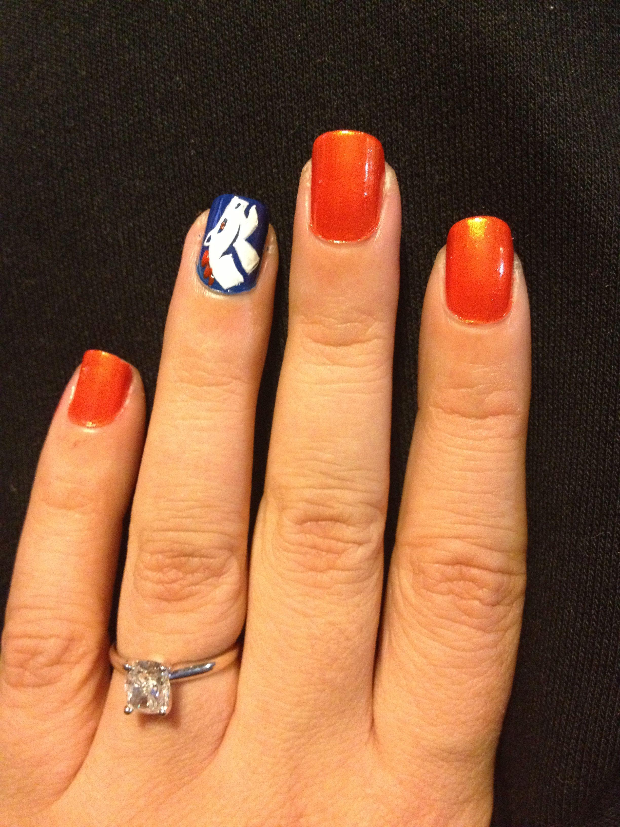 Super Bowl XLVIII Nail Art!   Denver broncos nails, Broncos nails ...