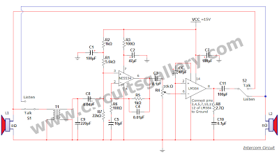 Simple Two Way Communication Intercom Circuit Schematic diagram ...