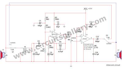 simple two way communication intercom circuit schematic diagram rh pinterest com mx