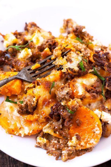 Süßkartoffel-Hackfleisch-Auflauf mit Feta #workoutfood