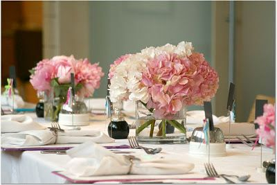 Shopping Theme Bridal Shower Pink Hydrangea Centerpieces