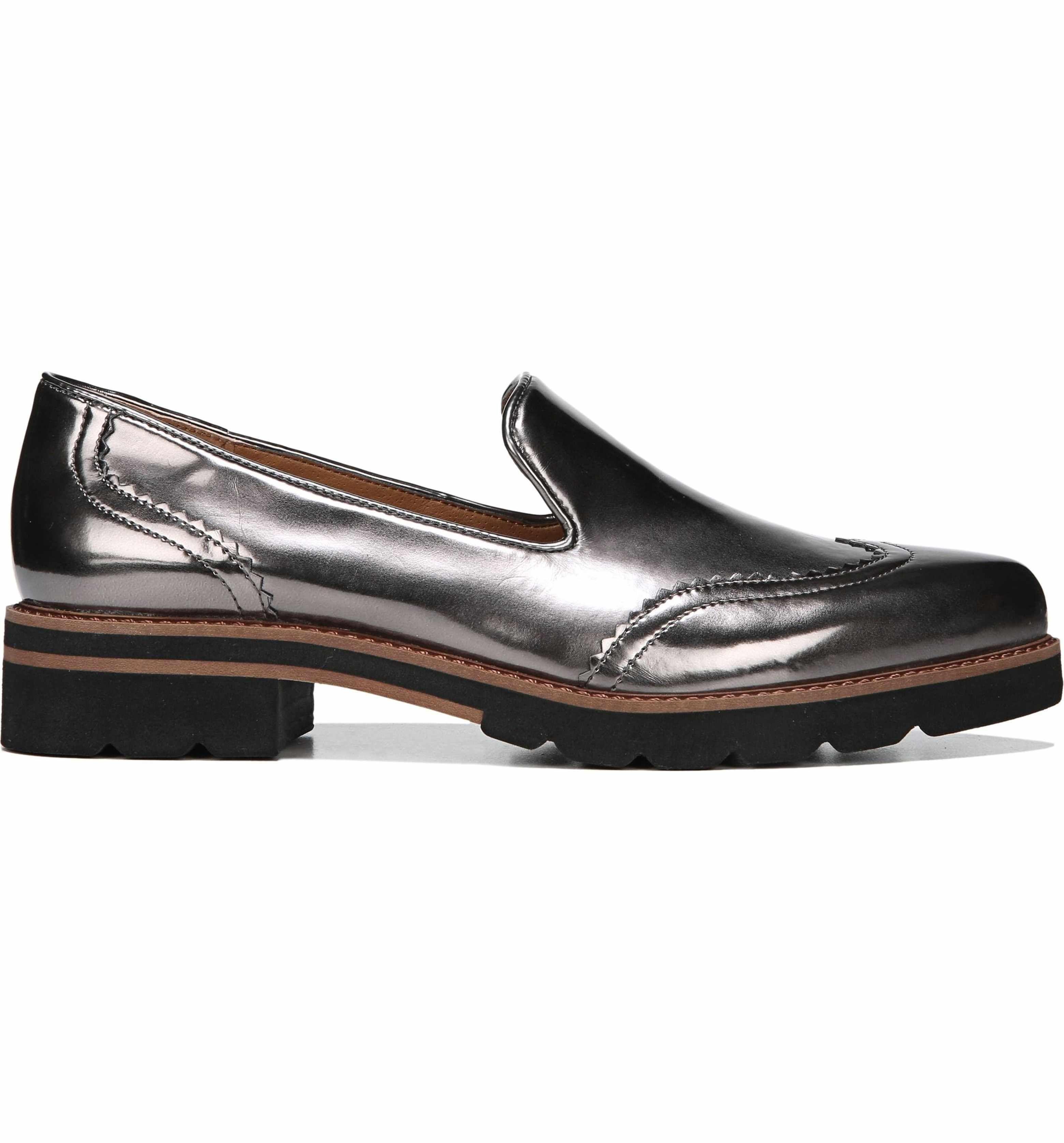 Franco Sarto Sarto by Franco Sarto Betsy Metallic Block Heel Loafers Pti0Jy