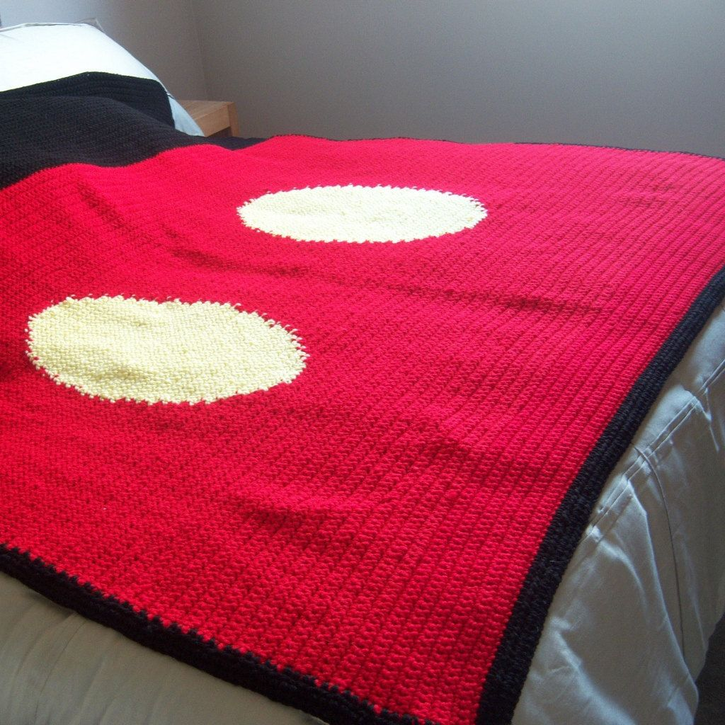 Iconic Mouse Crocheted Blanket - Ready to Ship - 60 x 60 Inches ...