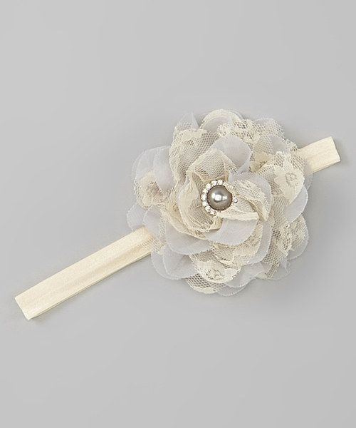 Look at this Gray Lace Flower Headband on #zulily today!