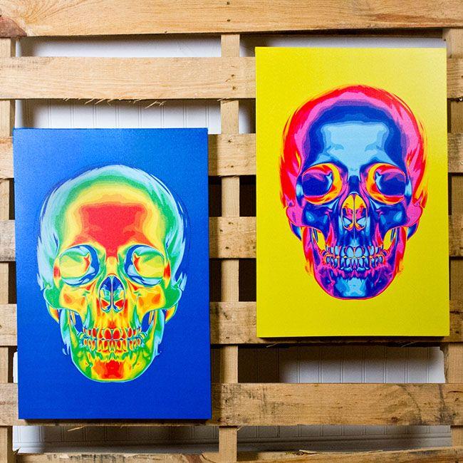 "16"" X 24"" Thermal Skull Canvas Art"