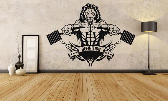 Lion crossfit fitness club gym logo sport barbell workout motivation