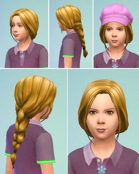 Birksches sims blog: Little Jana's Braided Ponytail hair retextured  - Sims 4 Hairs - http://sims4hairs.com/birksches-sims-blog-little-janas-braided-ponytail-hair-retextured/