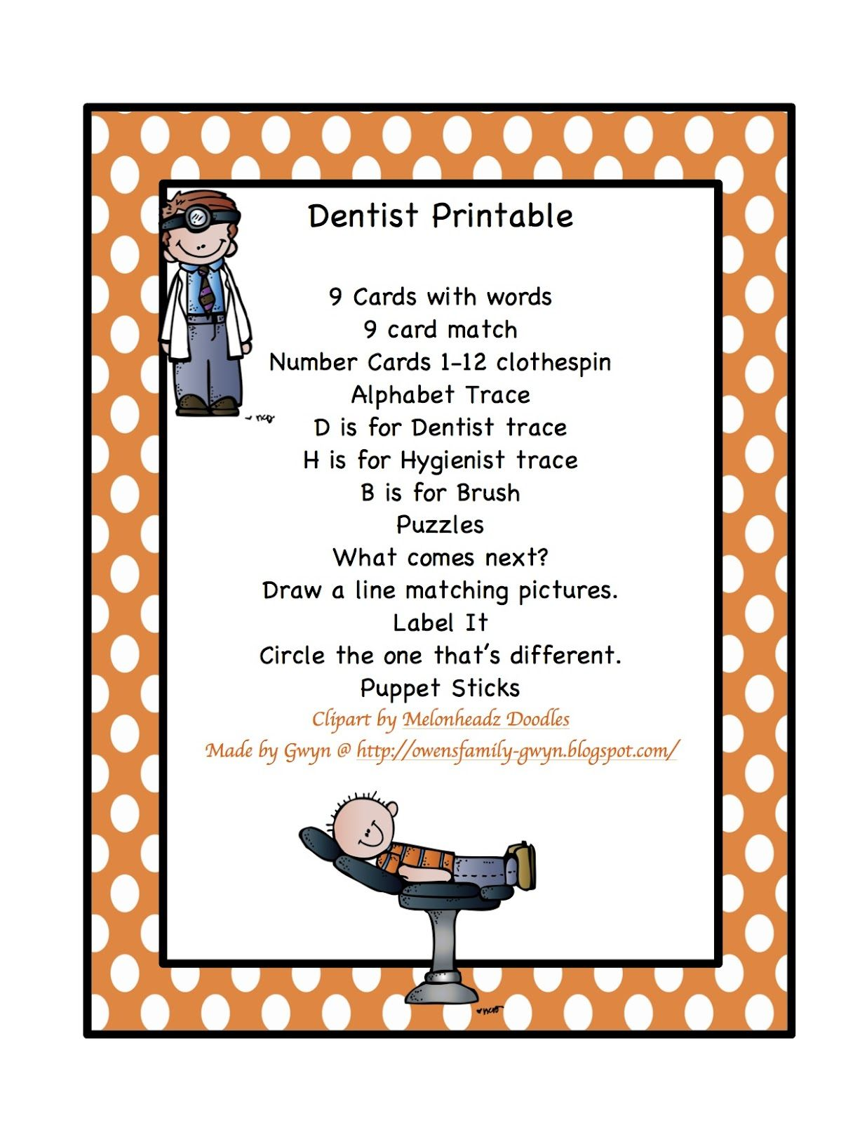 Dentist Printable 16 Page For 1 20