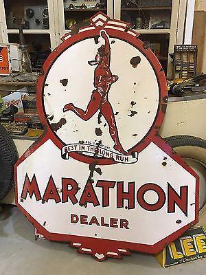 Marathon Products Vintage Style Porcelain Signs Gas Pump Plate Man Cave Station