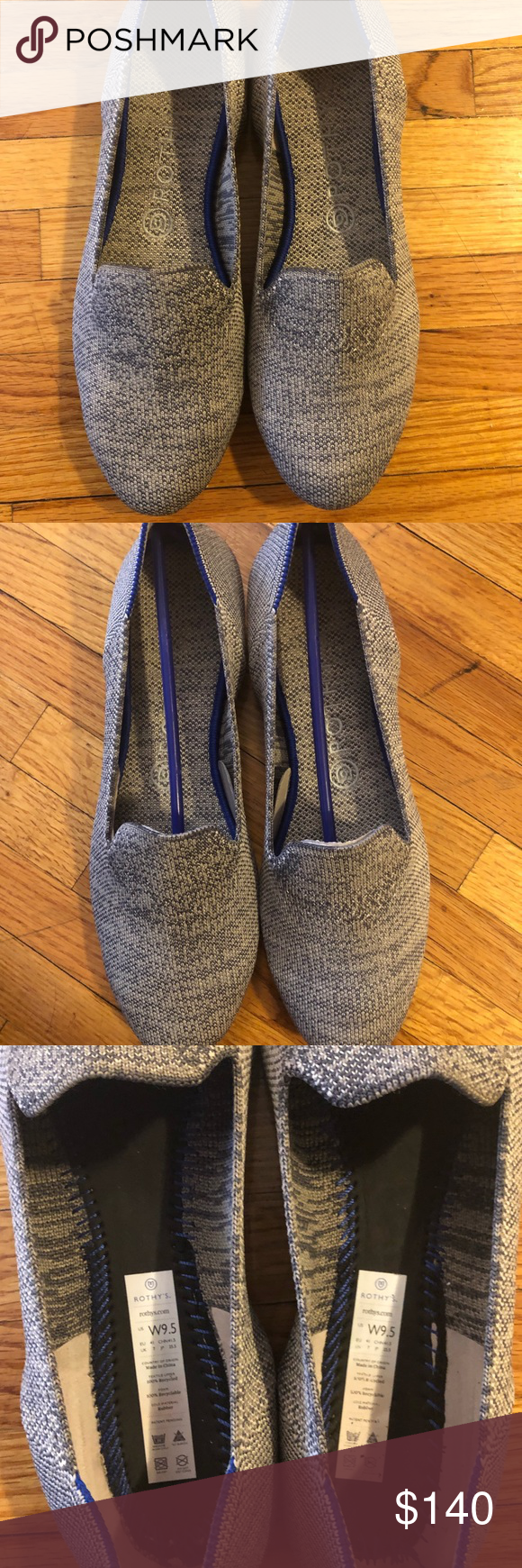 Rothy S Taupe Heather Loafers 9 5 Purchased Direct From And Worn Only Once Heathered Grey Color With Blue White Heel Stripe