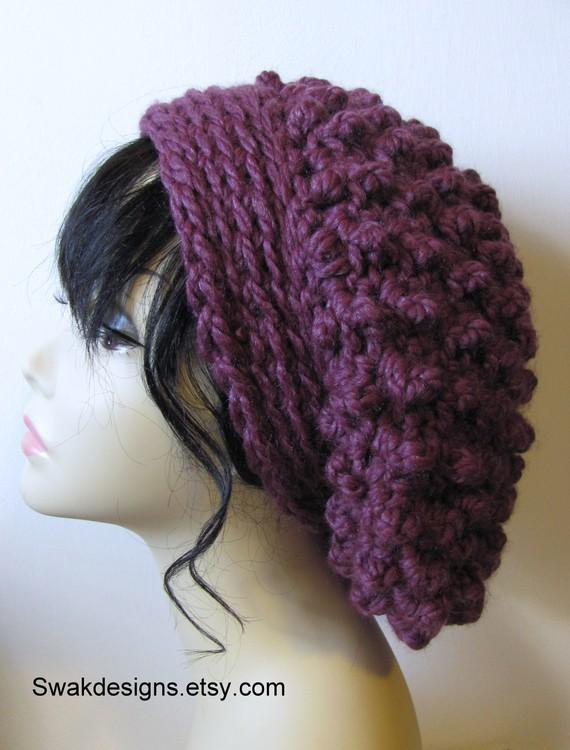 1efa5321 LONDON Slouchy Beanie Cap Chunky Bobble Cap Women's Hat Crochet Knit Cap Tam  - Fig Purple or CHOOSE Your Color