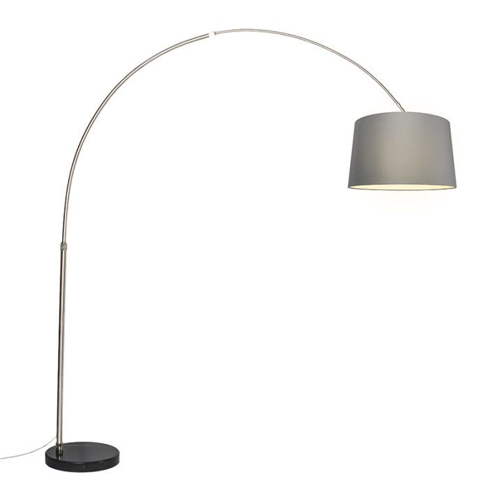 Arc Lamp Xxl Steel With Shade 50cm Grey In 2020 Arc Lamp Open Plan Living Steel