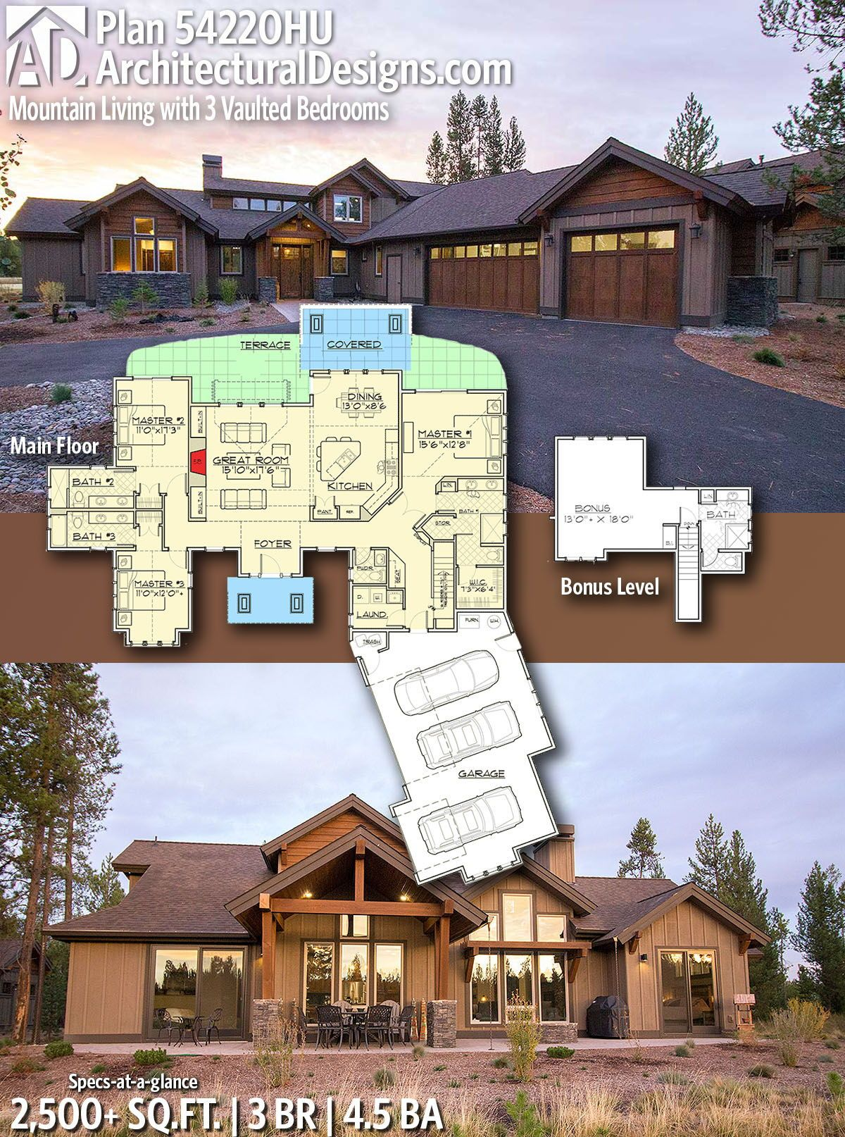 Plan 54220hu Mountain Living With 3 Vaulted Bedrooms Mountain House Plans Craftsman House Plans Dream House Plans