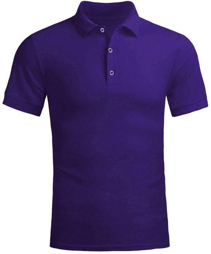Men's Various Colors Fine Cotton Giraffe Polo Shirts Violet - $ 9.9