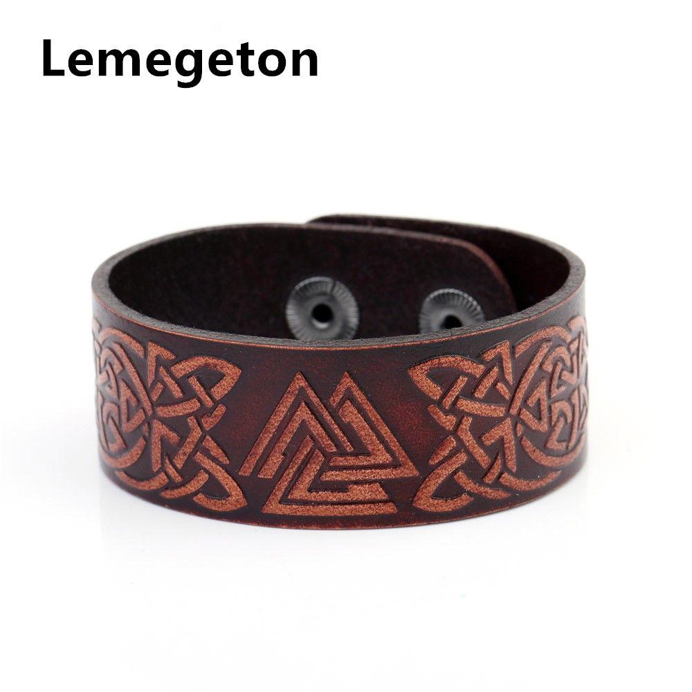fishhook Norse Viking Valknut Symbol 24 Amulet Runes Talisman Bangle Leather Bracelet