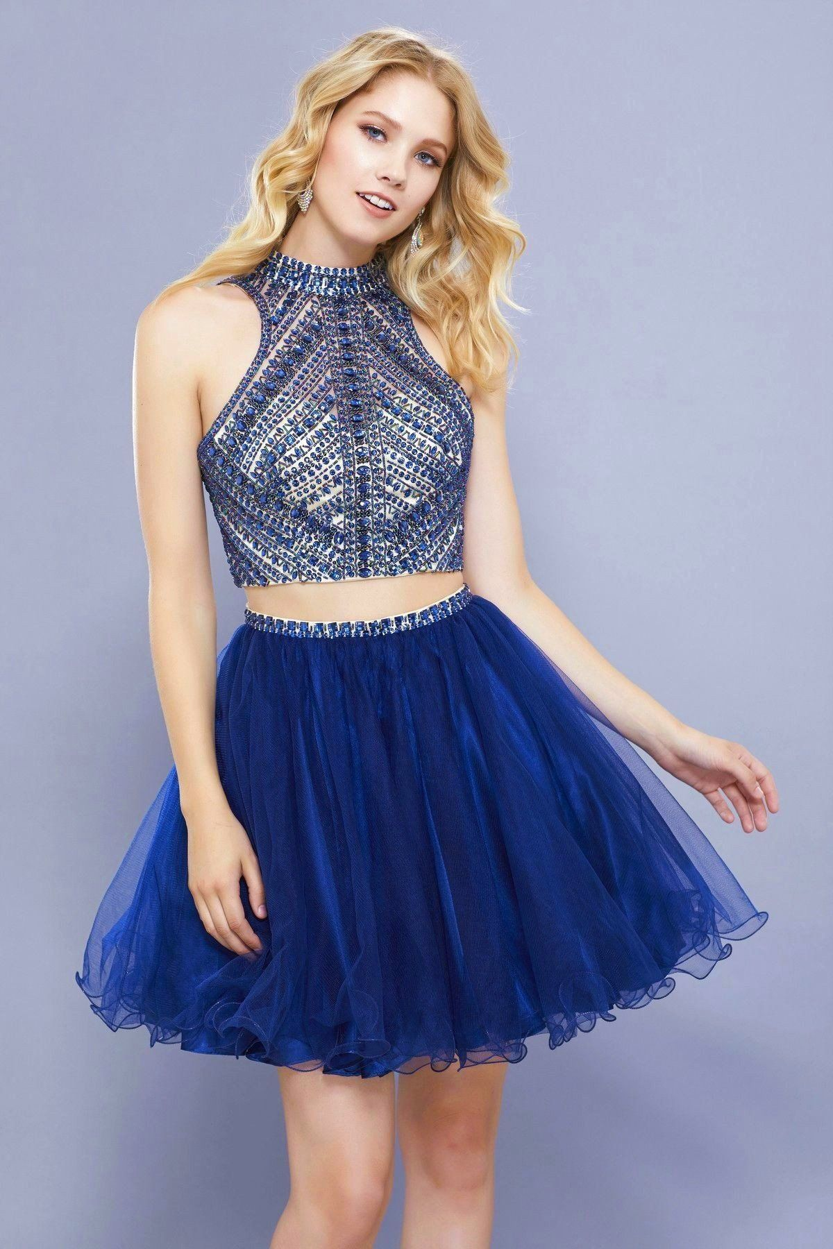 Short two piece dress with beaded top by nox anabel products
