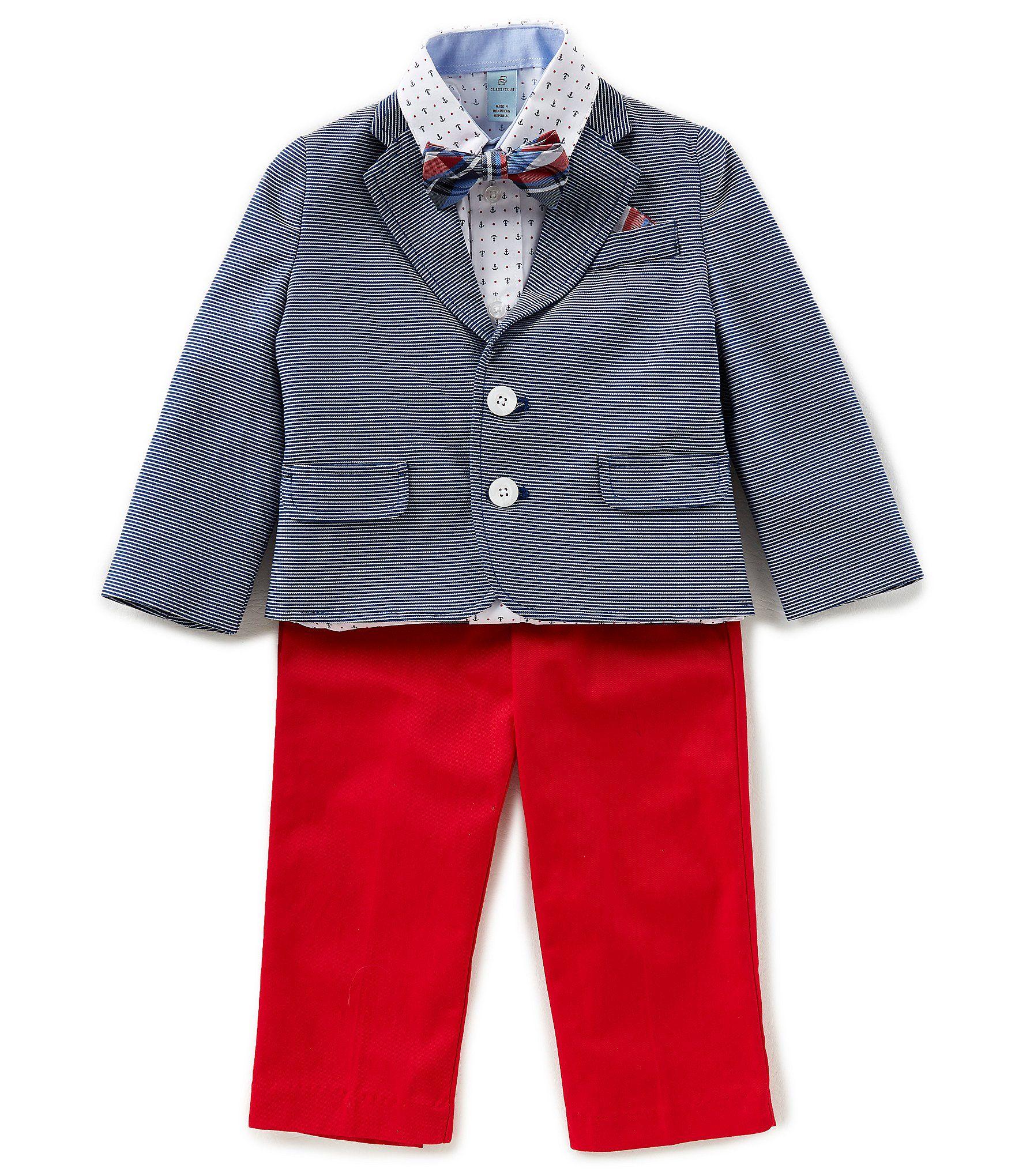 61f7515d977f Class Club Little Boys 2T-7 Striped Jacket, Button-Down Shirt, Pants, & Bow  Tie 4-Piece Suit Set #Dillards