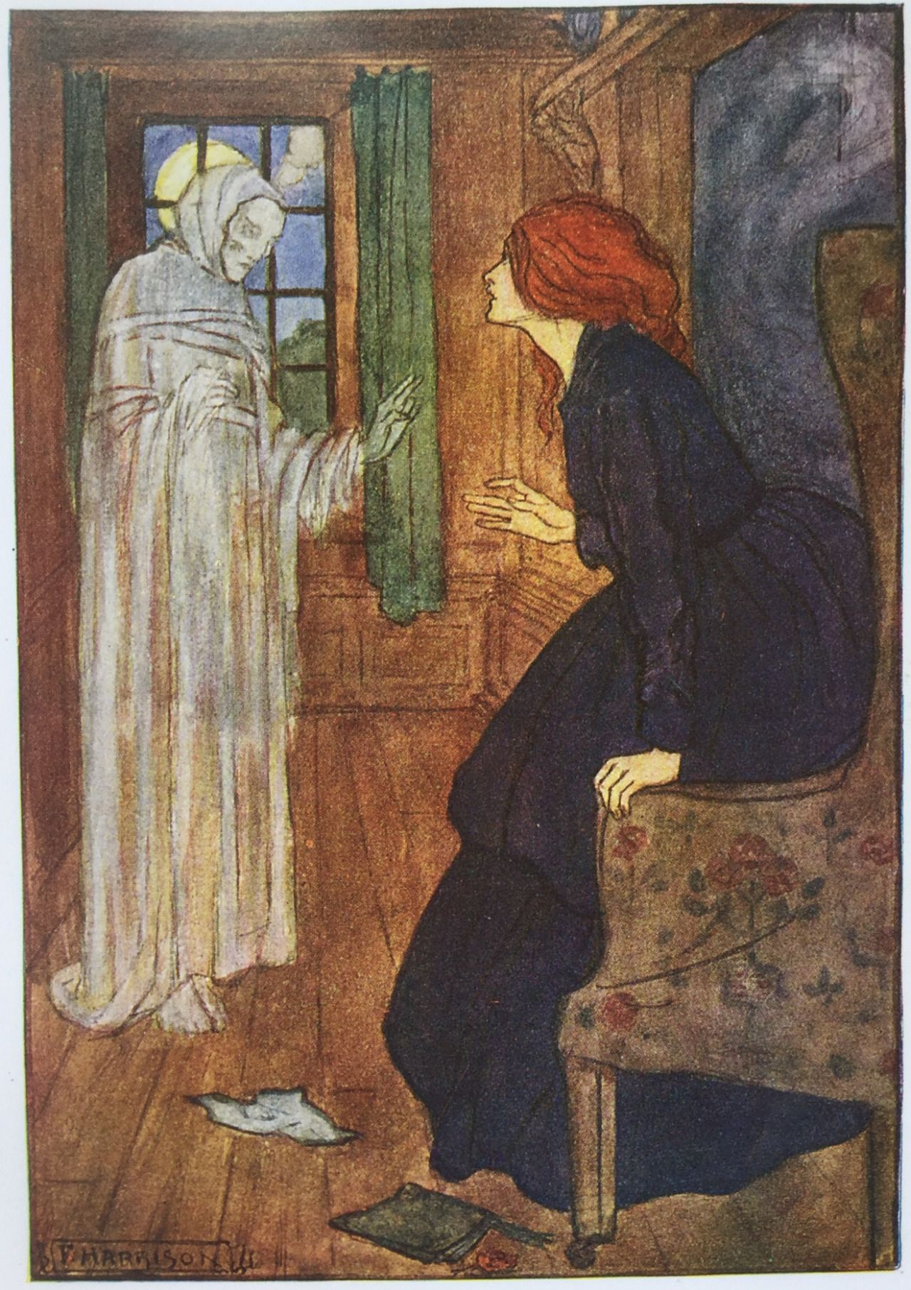The Ghost's Petition, Christina Rossetti, Illustration By Florence  Harrison,