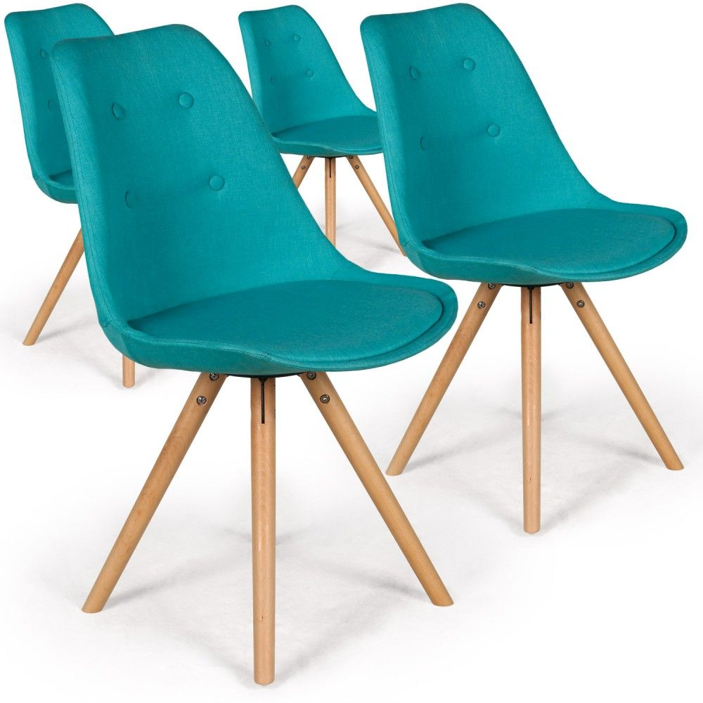 Lot De 4 Chaises Scandinaves Goya Tissu Bleu Home Decor Furniture Dining Chairs